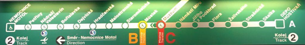 Mapa pražského metra - trasa A