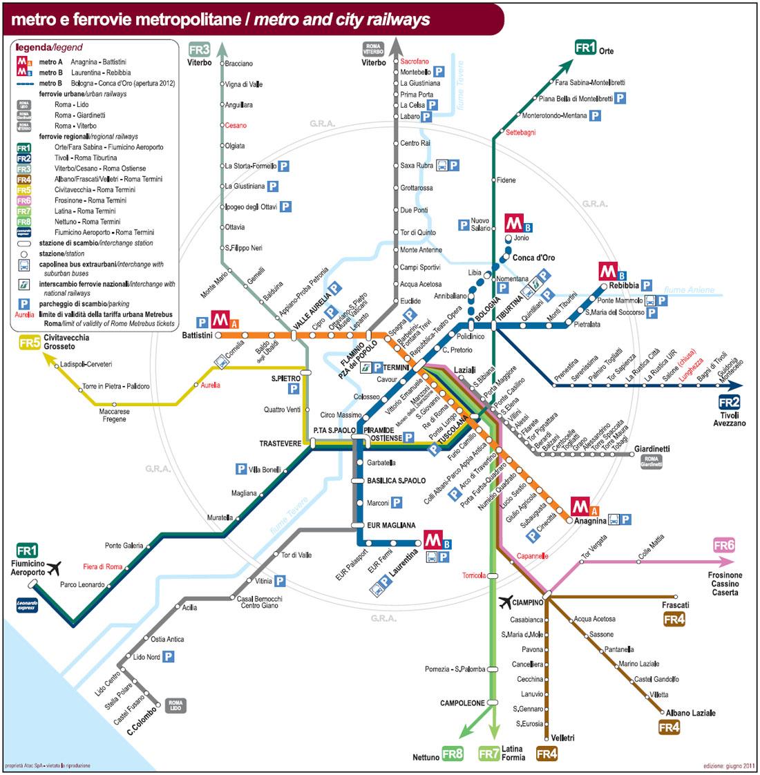 Plánek tras římského metra