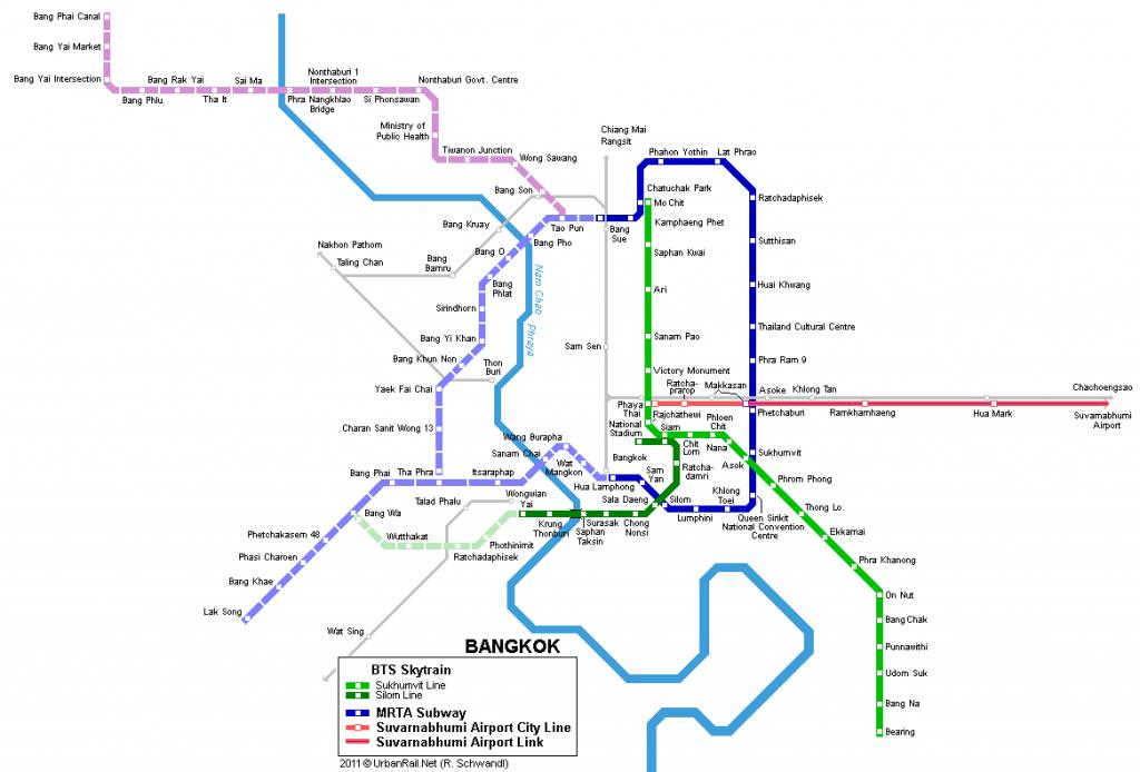 Plánek metra v Bangkoku