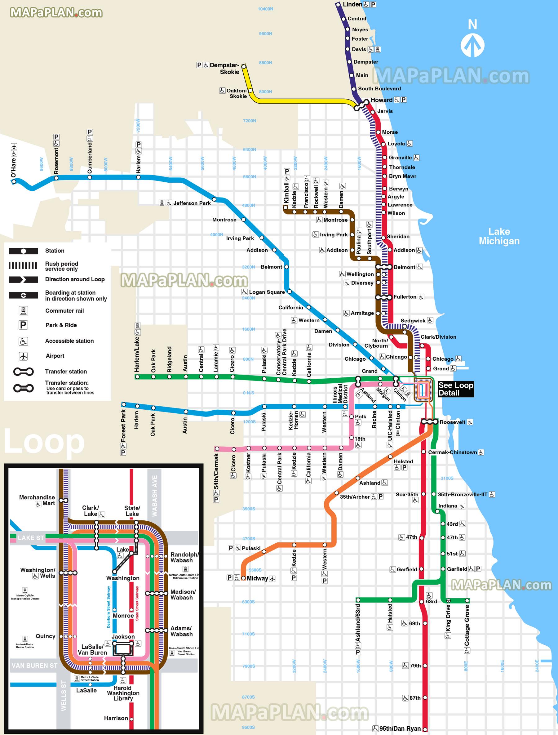 Metro V Chicagu  Mapa Jzdn A Doprava