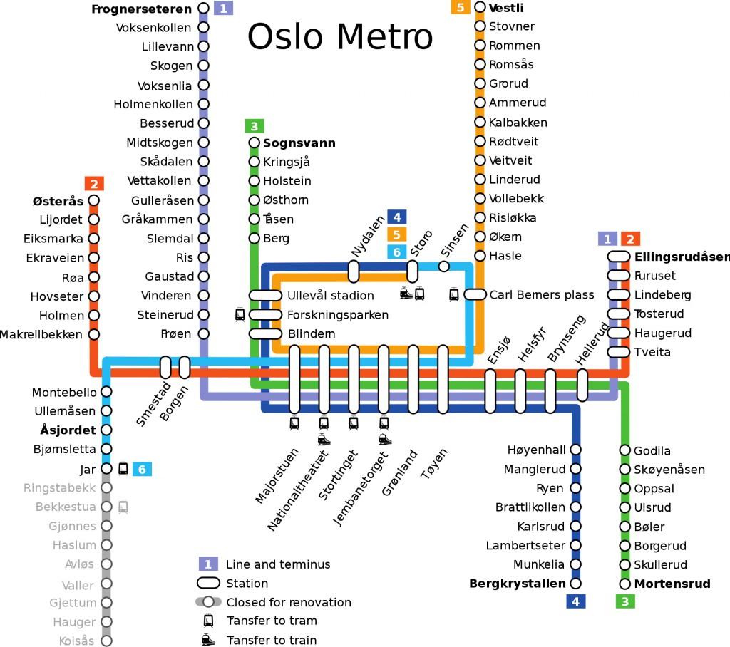 Mapa metra v Oslu ke stažení zdarma