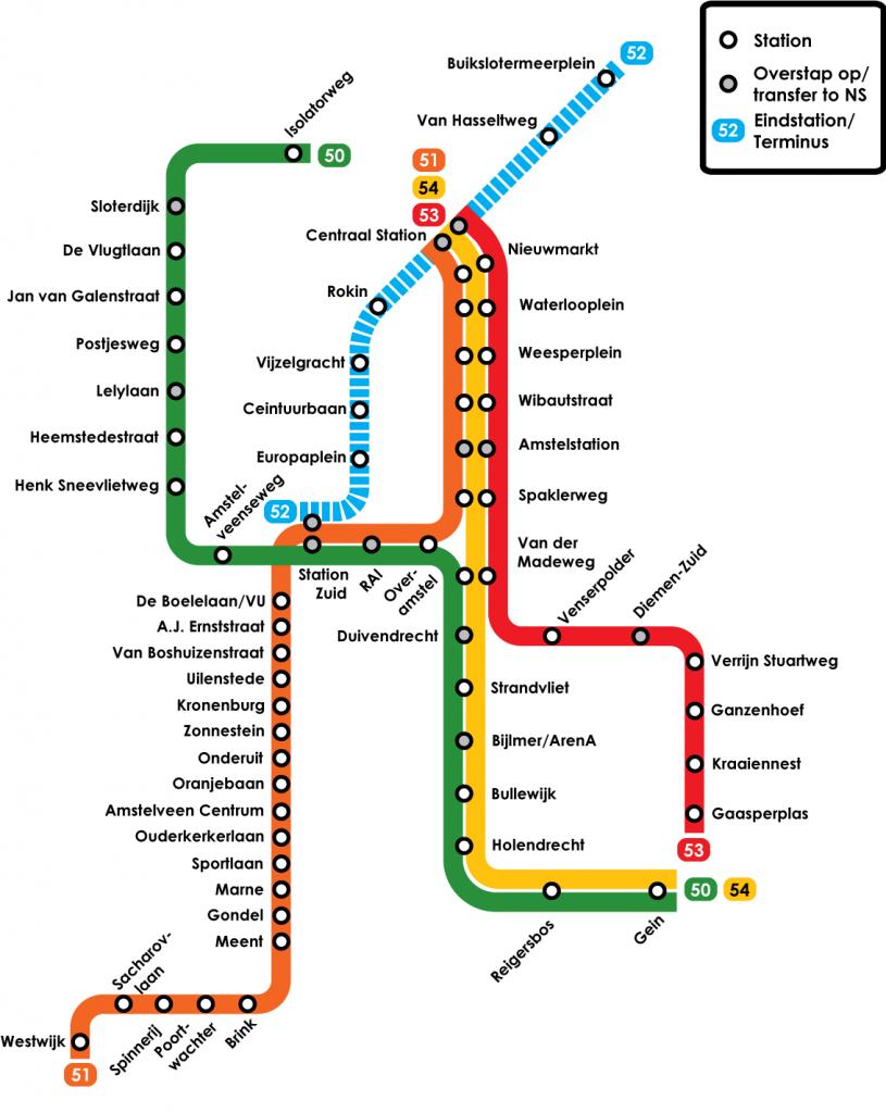 Plánek metra v Amsterdamu