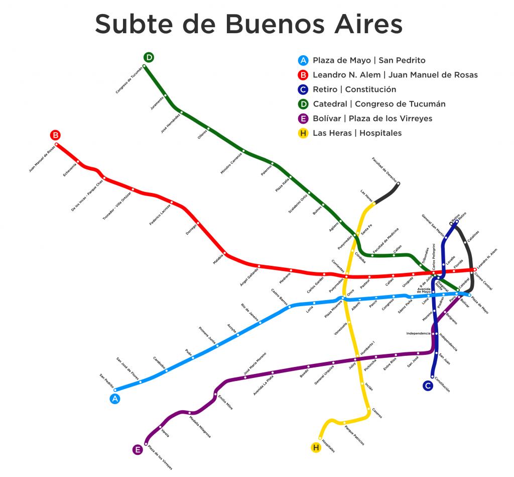 Plánek metra v Buenos Aires