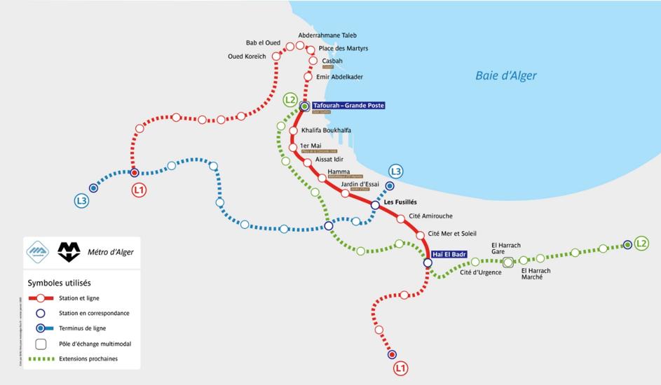 Mapa metra v Alžíru - ke stažení zdarma