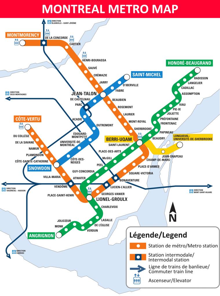 Mapa metra v Montrealu - přehled všech linek