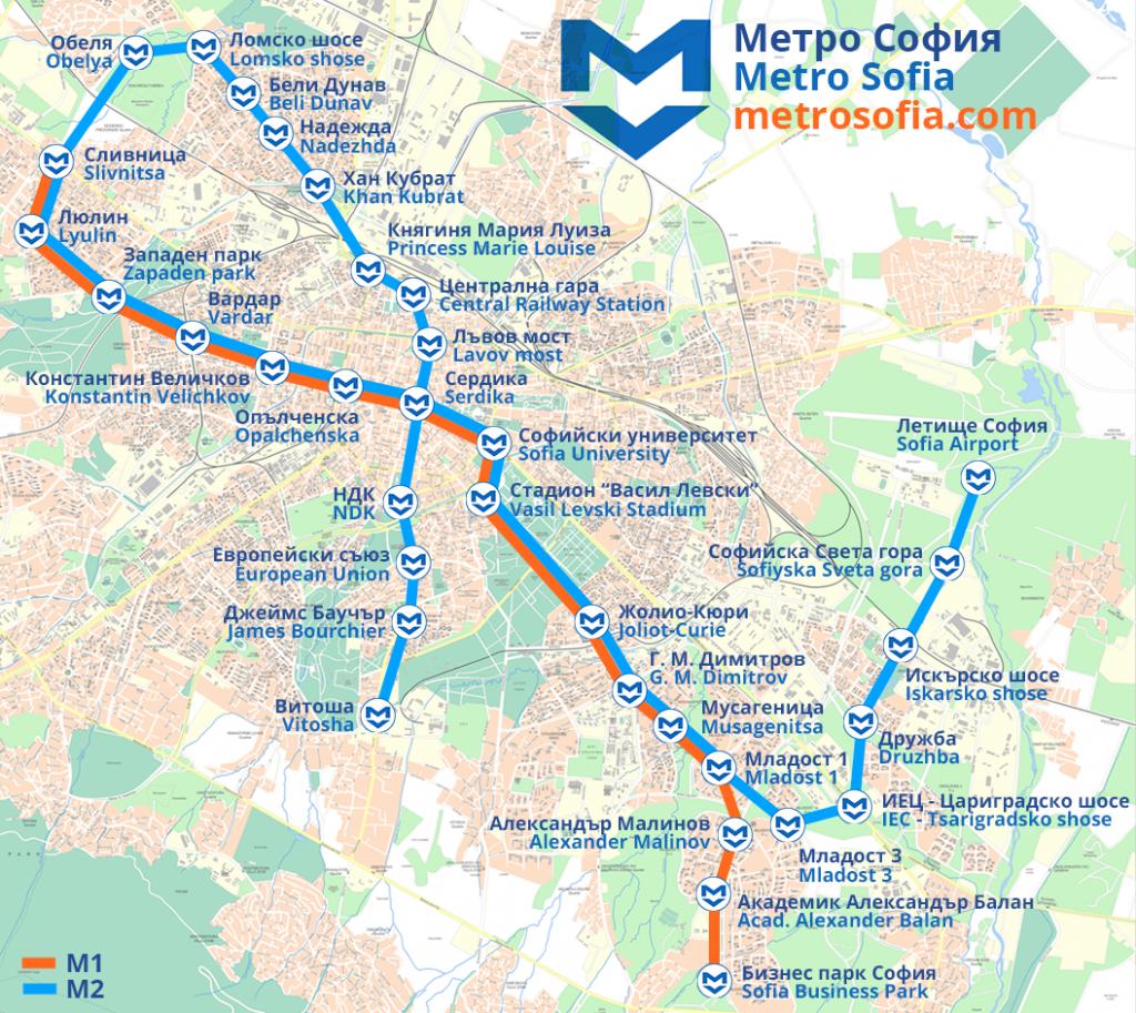 Plánek metra v Sofii